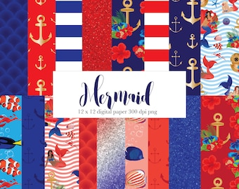 Red White and Blue mermaid digital paper, nautical, tropical, strips, fish, anchor, scales