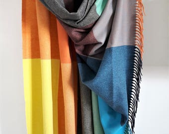 Gift for Mom/Cashmere Wool Blanket/Luxury Cashmere Throw/Woven Woolen Wrap/Cashmere/Wool Throw Blanket/Multicolored Cashmere Plaided Blanket