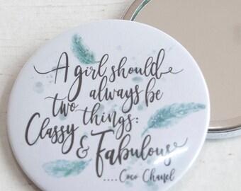 Pocket Mirror, Coco Channel, inspirational quote, compact mirror, pretty handbag mirror,  purse mirror, bridesmaid gift, girlfriend gift
