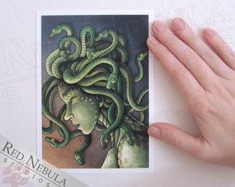 5x7 Sad Medusa Mini Print, Greek Myth Artwork, Fantasy Art Print, Medusa's Tear, Crying Gorgon, Sad Monster, Green Snake Woman, Mythology