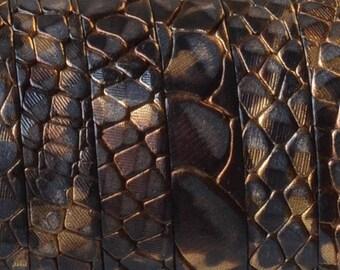 Flat leather - 10mm - snake - metallic Brown - 20 cm - CP1016MAR634