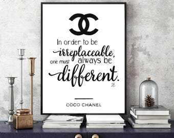 Coco Chanel print, Coco Chanel quote, fashion quote, fashion illustration, Chanel print, Chanel quote, watercolor typography