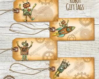 Robot gift tag, Robot printable tag, Robot tags, Robot download, Robot ornament,  Robot DIY,  Robot Party printable, Robin Davis Studio
