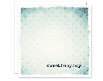 Baby Boy Card, Blue, Aqua, Polka Dots, Square, Blank Inside, Premium Cotton Paper and Envelope