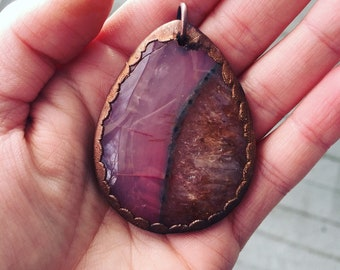 Pink Dyed Druzy Agate Copper Electroformed Bohemian Necklace Pendant with Tan Suede Cord