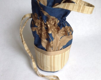 Sock Knitting Project Bag, small drawstring bag, navy and khaki floral and striped organizer for knitting projects