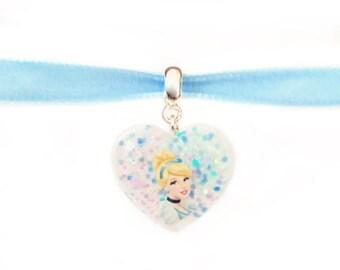 Cinderella Disney Necklace - Disney Velvet Choker - Illustrated - Glitter Heart - Disney Jewellery - Cinderella Jewelry