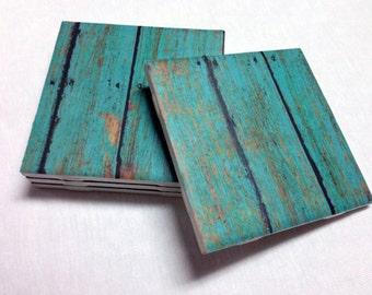 Turquoise Coasters - Teal Wood Design - Home Decor - Drink Coasters - Tile Coasters - Ceramic Coasters - Table Coasters