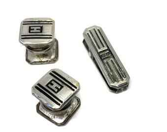 Art Deco Silver Plate Snap Cufflinks and Tie Clip Initial H B & W Kum-A-Part Cuff Links