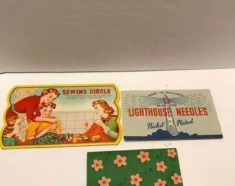Vintage Needle Books Sewing Circle Cherry Blossoms and Lighthouse Needles