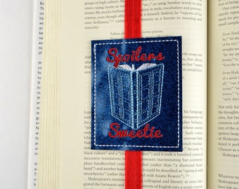 Spoilers Sweetie book mark ITH machine embroidery design 4x4