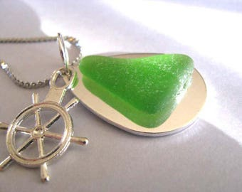 Sea Glass Necklace - Beach Glass Necklace - Ships Wheel - Beach Glass Jewelry = Pure Sea Glass from Prince Edward Island - Ocean Jewelry