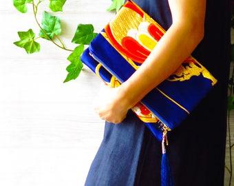 "Kimono obi / Evening purse / Vintage kimono / Silk / wedding bags/ clutch bag/ gifts for her/ Japanese kimono clutch ""Ocean Blue Gold """