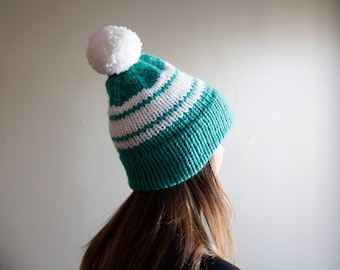 Ready to Ship || Double Brim Beanie - Green and White || Knit Hat || Winter Beanie || Pom || Handmade ||