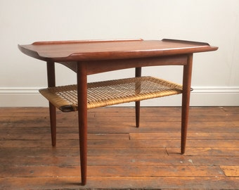 Danish Modern teak & rattan end table by Poul Jensen for Selig