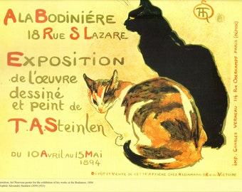 "Steinlen's ""Ala Bodiniere 1894 Exposition"" Reproduced French Vintage Poster to Frame or Paper Arts, Collage, Scrapbooking & MORE PSS 1925"