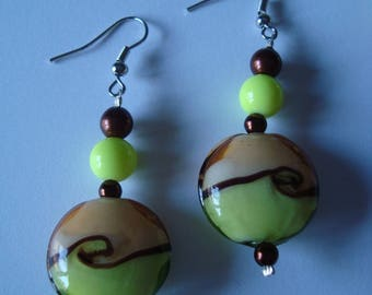Pretty green and Brown earrings