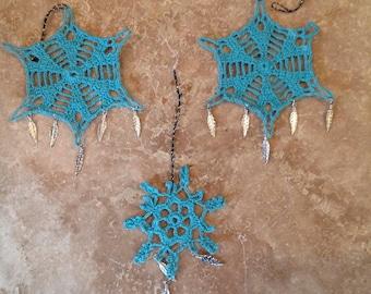 Snowflake crocheted ornaments