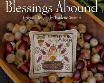 PLUM STREET SAMPLERS Blessings Abound counted cross stitch patterns  at thecottageneedle.com sampler Autumn Fall