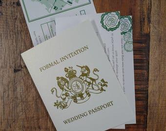 PassPort Travel Wedding Invitation, Destination Wedding invitation, Passport Invitation, Destination Invitations, airline ticket invitations