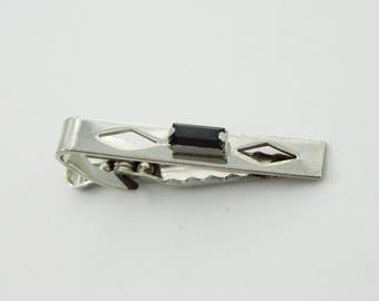 Dark Purple and Silver Rockabilly Tie Clip