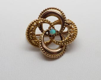 Beautiful Antique Victorian Love Knot Pin w/ Opal Center Stone