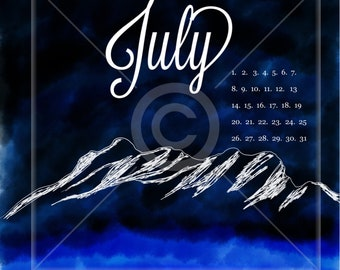 Digital July Planner Cover Art and Calendar