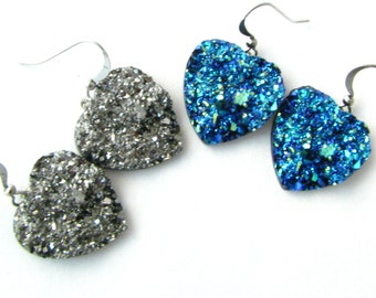 Druzy Heart Drop Earrings - Available in Silver or Bermuda Blue
