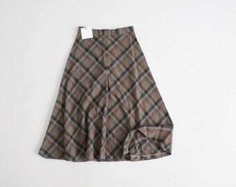 birch plaid skirt   70s plaid skirt   plaid wool skirt