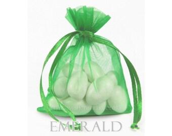 30 Emerald Green Organza Bags, 6 x 9 Inch Sheer Fabric Kelly Green Favor Bags