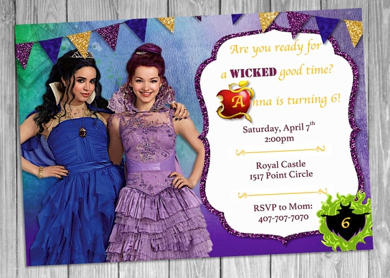 Disney Descendants Invitation Royal Birthday Party