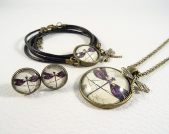 """Jewelry set """"ancient Dragonfly purple"""""""
