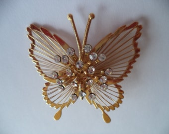 Vintage Signed Monet Goldtone/AB Stones Butterfly Brooch/Pin     Lightweight