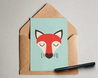 Fuchs I love you-postcard folding card greeting Cards