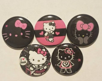 Kitty Black & Pink, 1 Inch buttons for bows, crafts, gifts, accessorizing, party favors, scrapbooking
