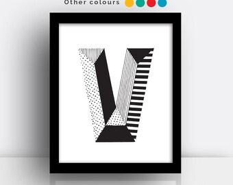 Letter V print - hand drawn typeface
