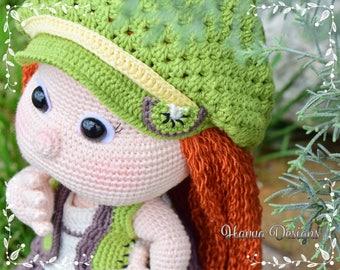 Crochet Pattern - Mia with Kiwi Clothes (Amigurumi Doll Pattern)