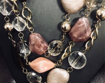 Stone and crystal necklace