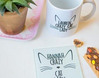 Crazy cat lady glass coaster