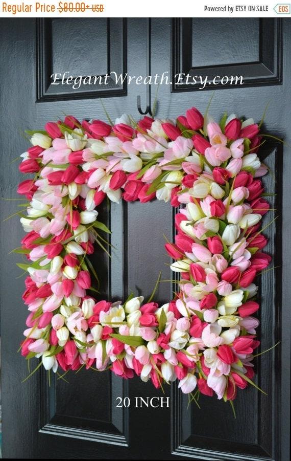 SUMMER WREATH SALE Pink Tulip Spring Wreath- Thin Storm Door Wreath Spring Decor Square Wreath- Tulip Wreath- 20 inch shown- The Original Tu