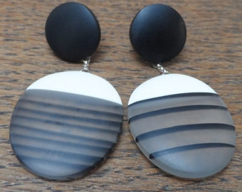 Black earrings/ drop earrings/resin earrings/statement earrings/dangle earrings/ stripy earrings/nautical earrings/ classic jewelry/handmade