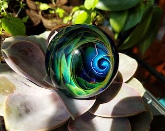 Large Handmade Fumed WigWag Vortex Meditation Marble, Glass Marble, Meditation Gift, Art Marble, Fumed Marble, Glass Ball, Vortex Marble