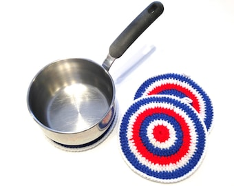 Patriotic Striped Crocheted Round Potholders- Red, White, And Royal Blue Trio