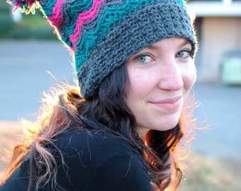 Crochet Beanie - Chasing Chevrons Square Double Pom Slouch