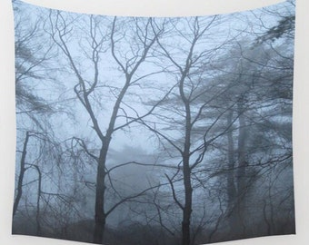 Woodland Fog Wall Tapestry, forest tapestry, tree tapestry, fog wall tapestry, wall hanging, forest wall hanging, woodland tapestry