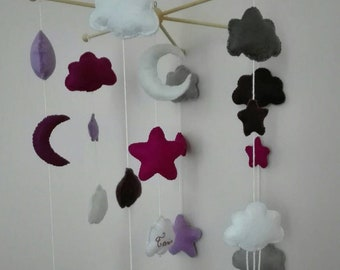 Felt mobile personalized wooden 6-pointed stars, moons, clouds