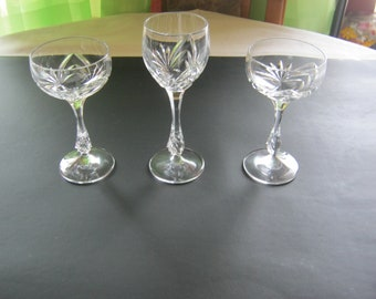 Vintage wine Glasses Trio, 2 cups/1 cup mouth blown, hand sanded around 1908 Germany