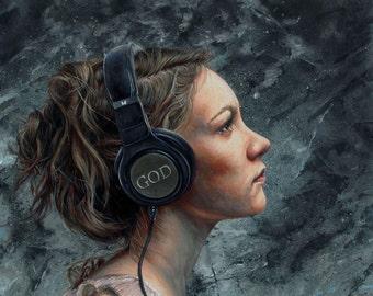 """Listen 4 20""""x16"""" Giclee Print"""