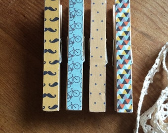 Decorated Clothes Peg Magnets.