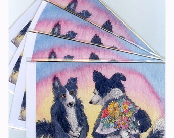 4 x Border Collie dog greeting cards - a bunch of flowers just for you